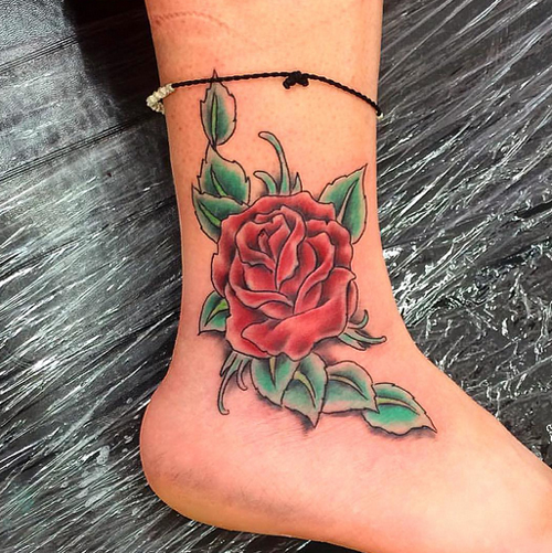 ankle tattoos red rose