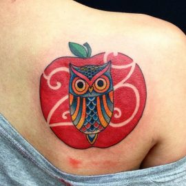 apple-and-owl-tattoo