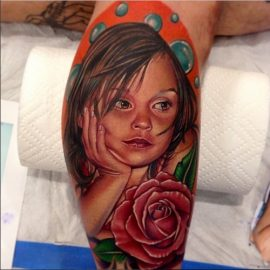 Baby with Red Rose Tattoo