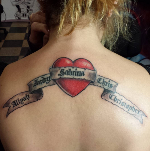 Banner Tattoos with Heart