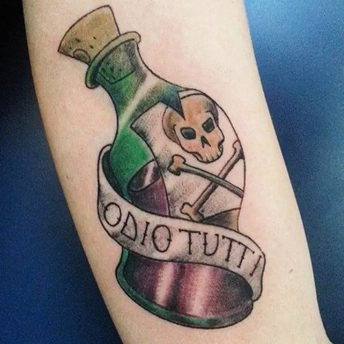 Bottle Tattoos with Skull and Bone