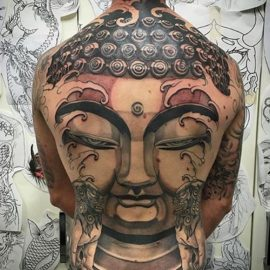 Buddha Face Tattoos on Back