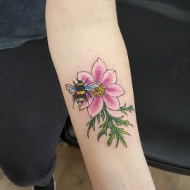 bumblebee tattoo and flower