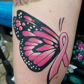 Elegant Breast Cancer Pink Ribbon Tattoo Design