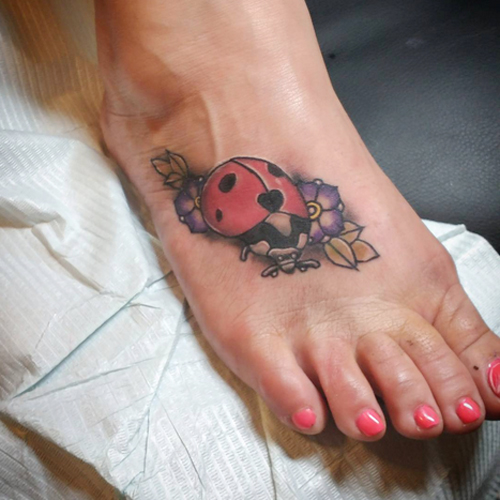 Ladybug Tattoos on Foot