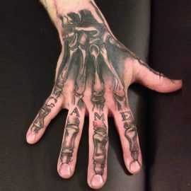 Skeleton Bones Tattoos on Hand