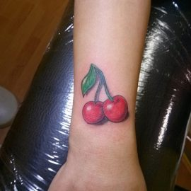 Small Cherry Tattoos on Wrist