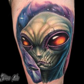 Tattoos of Alien With Big Eyes
