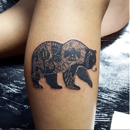 Walking Black Bear Tattoo