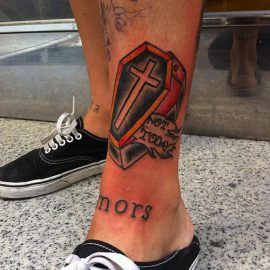 coffin tattoos on leg