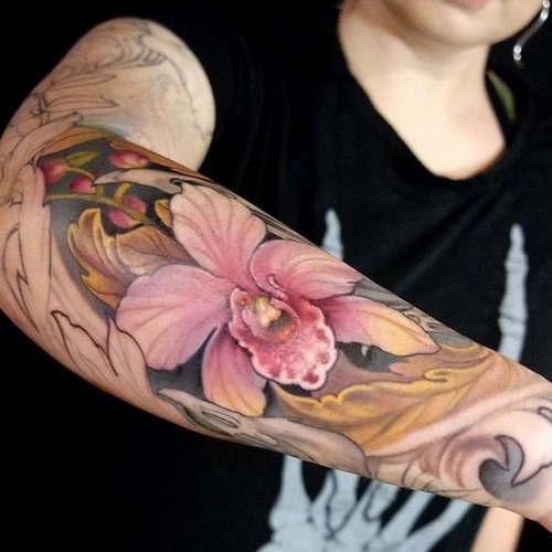 wrist tattoos of hibiscus flowers