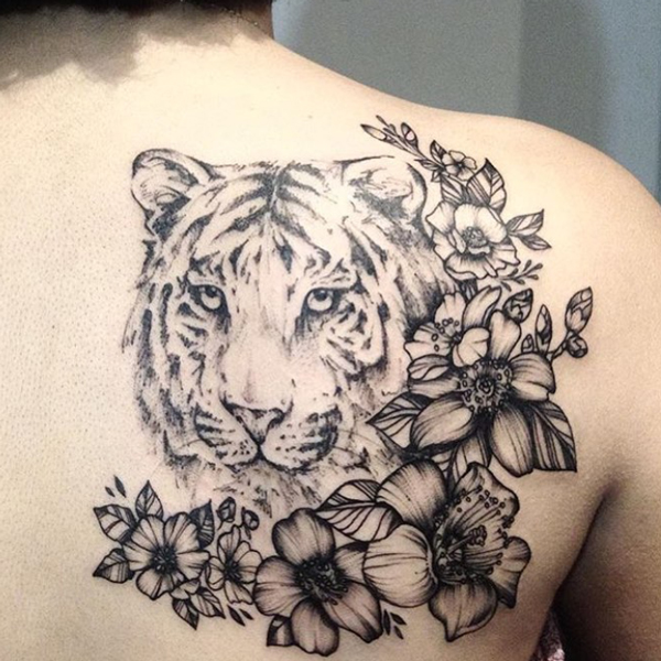 Tiger and Flower Tattoo