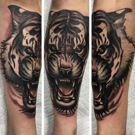 tiger arm sleeve tattoo