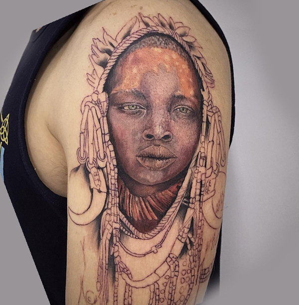 African Woman Tattoo 16