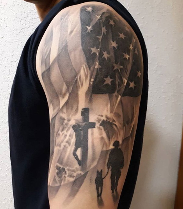 Tattoo Of American Flag.