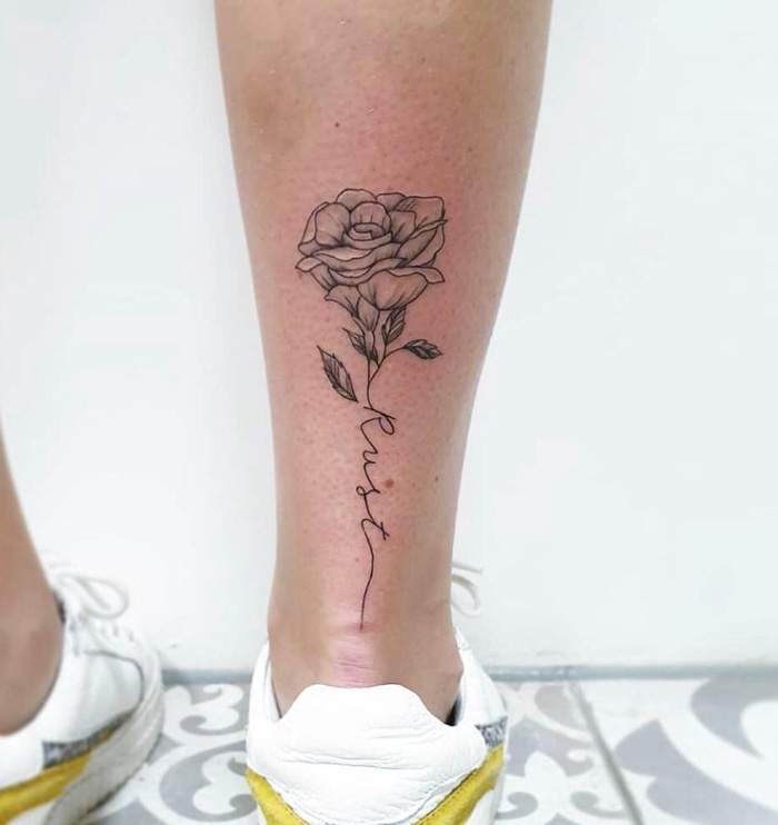 Small Rose Foot Tattoo.