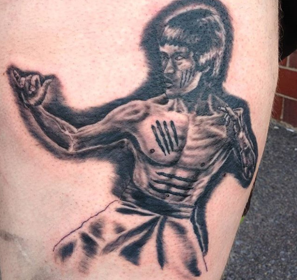 Tattoo of Bruce Lee.
