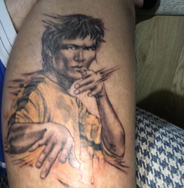 Bruce Lee Portrait Tattoo.