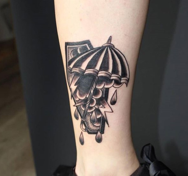 Black Coffin Tattoo On Leg.