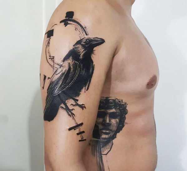 Crow Bird Mythology Tattoo.
