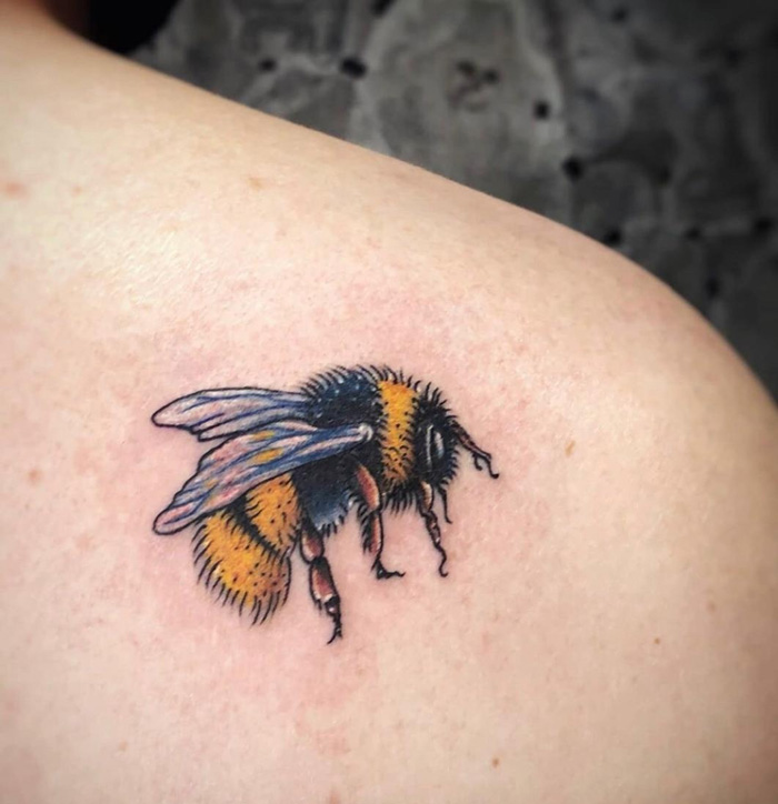 Cute Bee Tattoo For Girls.